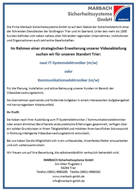 Stellenangebote Marbach Sicherheitssysteme